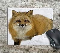 雪の中のかわいいキツネ滑り止めマウスパッドおしゃれスリップ防止マウスパッドおしゃれスリップ防止マウスマットマットパッド