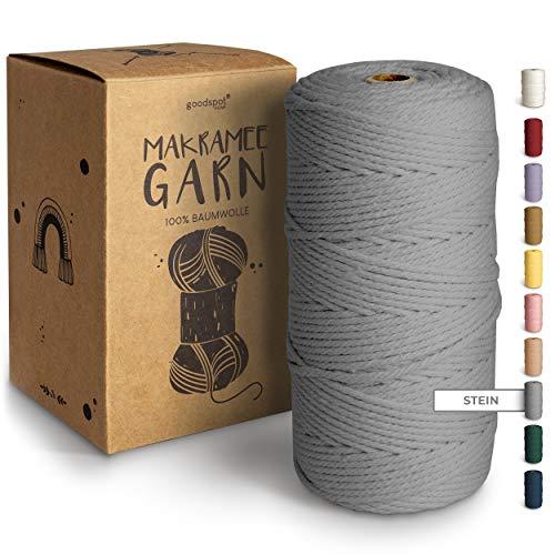 goodspot® Premium Makramee Garn Stein (grau) - 3mm x 100m - 100% Baumwolle für natürliche Optik - Makramee Baumwollgarn DIY Handwerk