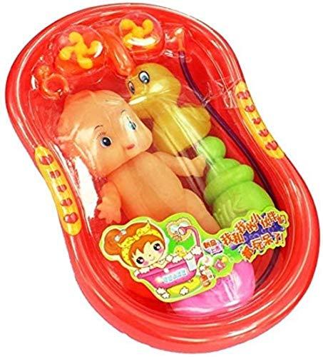 Hsj 6 PC-Kind-Kind-Plastik Baby Doll In Badewanne mit Dusch Zubehör Set Pretend Play-Spielzeug, Kinderbadespielzeug, 6 PC-Baby-Dusche Spielzeug Badewanne Spielzeug for Kleinkinder, Baby Doll Badewanne