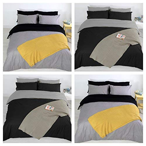 Adam Home 4PCS Complete Reversible Duvet Cover & Fitted Sheet Soft Micro Fiber Bedding Sets by TTO (Black Grey, Single)