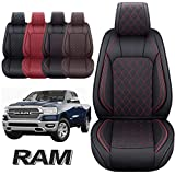 Aierxuan Dodge Ram Front Seat Covers Custom Fit 2009-2021 1500 2500 3500 Crew Quad Regular Cab Truck Pickup Waterproof Leather Airbag Compatible Cushions(2 PCS Front/Black-Red)