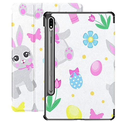 Funda Galaxy Tablet S7 Plus de 12,4 Pulgadas 2020 con Soporte para bolígrafo S, Flores de Pascua, Mariposas, Conejo, Funda Protectora con Soporte Delgado para Samsung