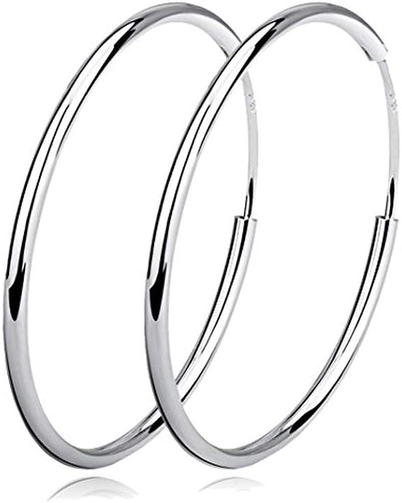 YFN Hoop Earrings Sterling Silver Polished Round Circle Endless Earrings Diameter 20,30,40,50,60mm