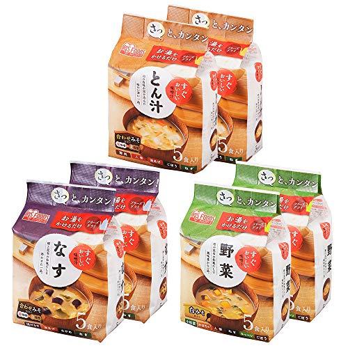 アイリスオーヤマ みそ汁 すぐおいしい味噌汁 フリーズドライ 野菜/なす/とん汁 30食 (3種×各10個)