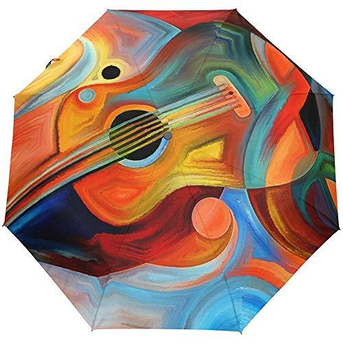 Jacque Dusk Regenschirm-Abstrakte Musik Und Rhythmus-Gitarre Kompakter Reiseschirm Auto Open Windproof Waterproof Folding Umbrella Canopy