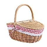 hongbanlemp Wicker Picnic Basket Natural Hand Woven Basket, New Country <span class='highlight'>Style</span> Wicker Picnic Basket Hamper with Lid and Handle Liners for Picnics, Parties and BBQs
