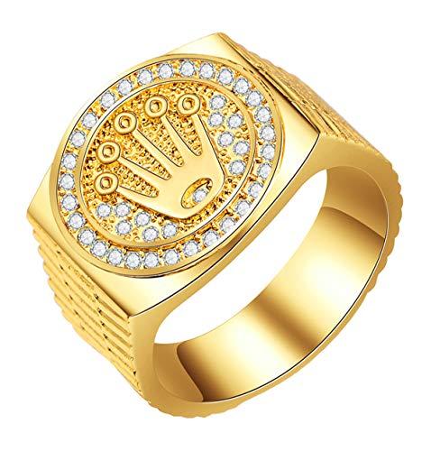 Boomly Anillos de Hip Hop/Rock Unisex Chapado en Oro Anillos de la Amistad Corona de baño de Oro para Mujeres Resultados de joyería para Hombres San Valentín Compromiso Boda (Oro #1, 10)