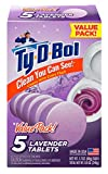 Ty-D-Bol Lavender Tablets Value 5 Pack, Cleans and Deodorizer Toilets for a Fresh Smelling Bathroom