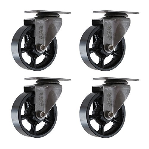 (Set of 4) 5' CC Vintage Swivel Casters - Plate Mount - Black Cast Iron Wheels