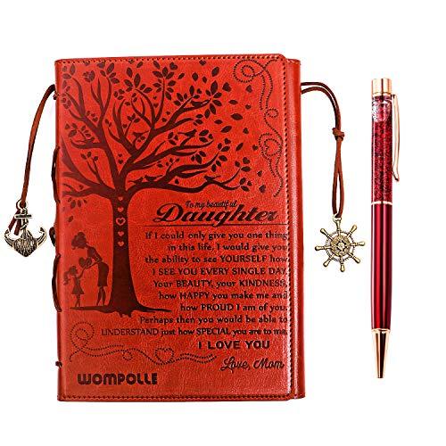 wompolle Tagebuch für Mutter zu Tochter, liniertes Tagebuch, Reisetagebuch, 15,2 x 21,8 cm, Kunstleder, nachfüllbar für Teenager, Mädchen und Frauen