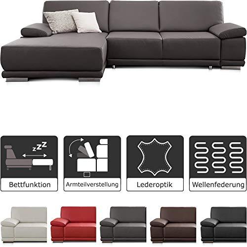 CAVADORE Schlafsofa Corianne / L-Form-Sofa mit verstellbaren Armlehnen, Bettfunktion und Longchair / 282 x 80 x 162 / Kunstleder, grau