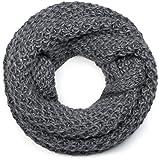 styleBREAKER Unisex Strick Loop Schal grob gestrickt, Uni Schlauchschal, Winter Strickschal 01018157, Farbe:Grau