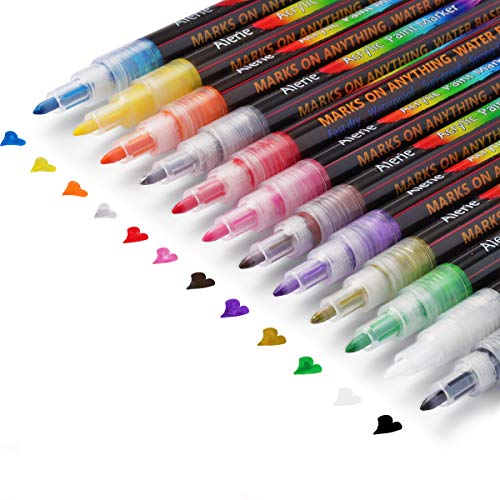 Acrylic Paint Pens, Acrylic Paint Markers for Rock Painting, Stone, Mugs , Ceramic, DIY Craft Making Supplies, Glass, Wood, Fabric, Canvas.Set of 12 Colors Paint Markers with 0.7mm Tip