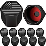 SAMIKIVA American Flag Tire Valve Stem Caps, USA with O Rubber Ring, Universal Stem Covers for Cars, SUVs, Bike, Bicycle, Trucks, Motorcycles, Airtight Seal Heavy Duty ((Black Gray USA (12 Pack))