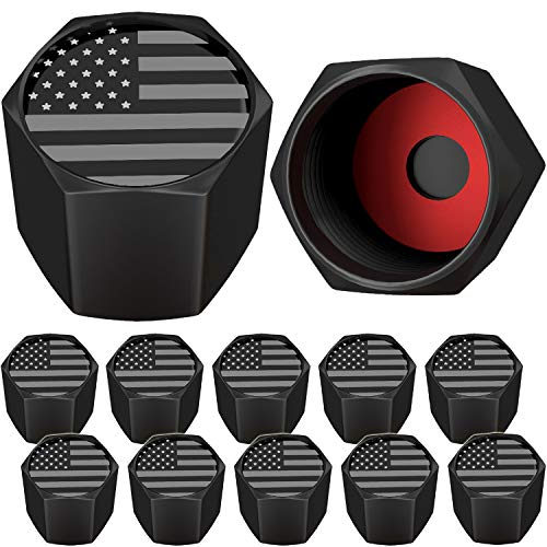 SAMIKIVA American Flag Tire Valve Stem Caps, USA with O Rubber Ring, Universal Stem Covers for Cars, SUVs, Bike, Bicycle, Trucks, Motorcycles, Airtight Heavy Duty (12 Pack) (Black Gray USA (12 Pack))