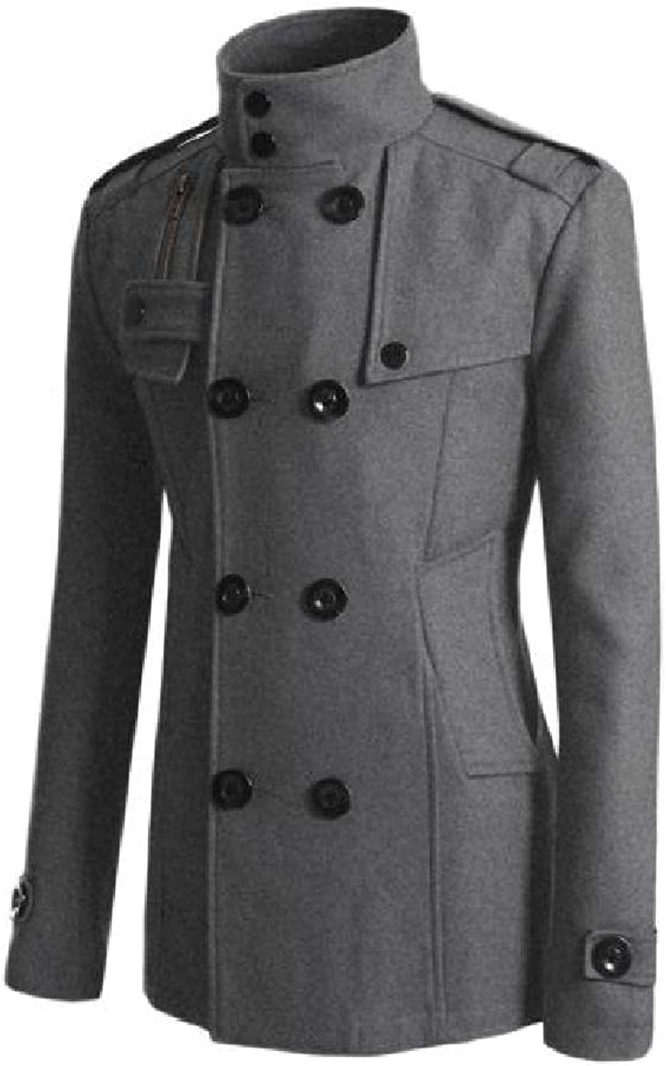 124e091465 Bamyo Men's Double Breasted Thickening Pocket Pocket Pocket Solid Woolen  Jacket Outerwear 93902b