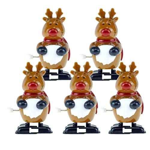 STOBOK 5pcs Christmas Wind Up Toys Reindeer Wind up Stocking Stuffers Christmas Party Favors for Kids