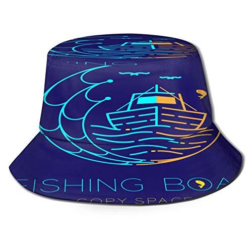 fudin Sombrero de Pescador Unisex Barco de Pesca Pescado Gaviota Ola Red Plegable De Sol/UV Gorra Protección para Playa Viaje Senderismo Camping