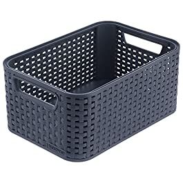 CURVER | Rangement Style Aspect rotin M, Anthracite, Storage Others, 38,6×28,7×17 cm