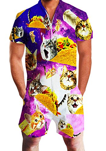 Men's Rompers Male Zipper Jumpsuit Shorts Galaxy Taco Cat One Piece Romper Slim Fit Bro Short Sleeve Shirt Outfits