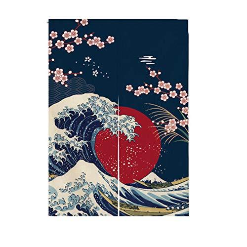Cortina de entrada de estilo japonés para puerta Noren, para decoración del hogar, 33.5 x 55.1 pulgadas, 14