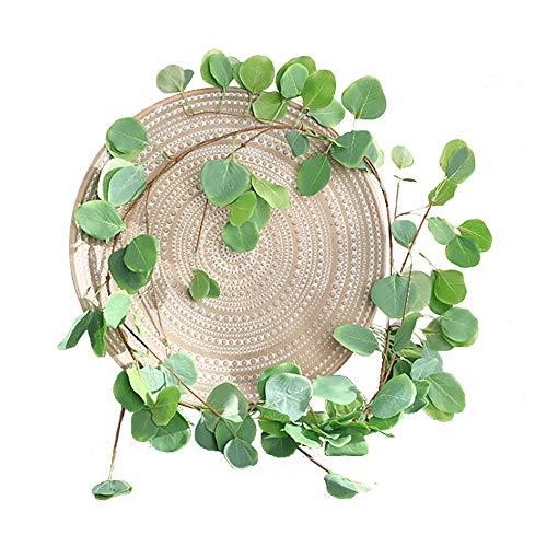 Lumierechat フェイクグリーン 造花グリーン 造花 ユーカリ ガーランド 人口観葉植物 壁掛け 吊り 観葉植物 葉 a-b7617(1.7m/フレッシュグリーン)