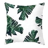 Beydodo Cojines Baratos,Hojas,Fundas Cojines 45x45 Nordico Fundas para Cojines Decorativos Blanco Verde