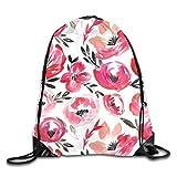 Lawenp Plegable Pink Summer Tropics Watercolor Floral Drawstring Bag, Sports Cinch Sacks String Drawstring Backpack for Picnic Gym Sport Beach Yoga