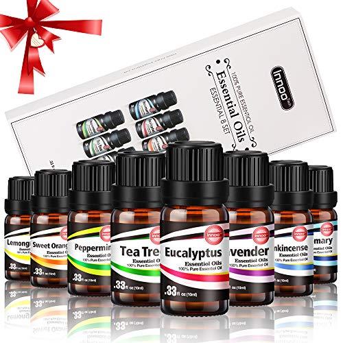Oli Essenziali Innoo Tech Kit di 8 Per Diffusore di Aromi Aromaterapia, 10 ml Ognua. 8 Odore Diverso per Yoga,Rilassamento ecc.