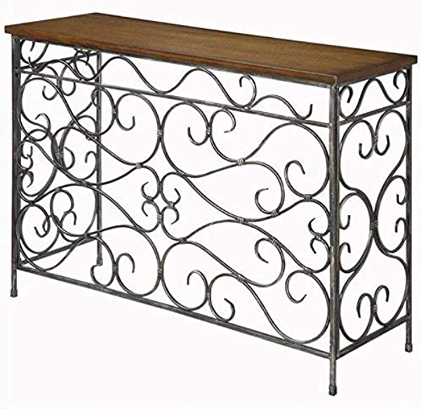 Convenience Concepts Wyoming Metal And Wood Console Black Antiqued Finish