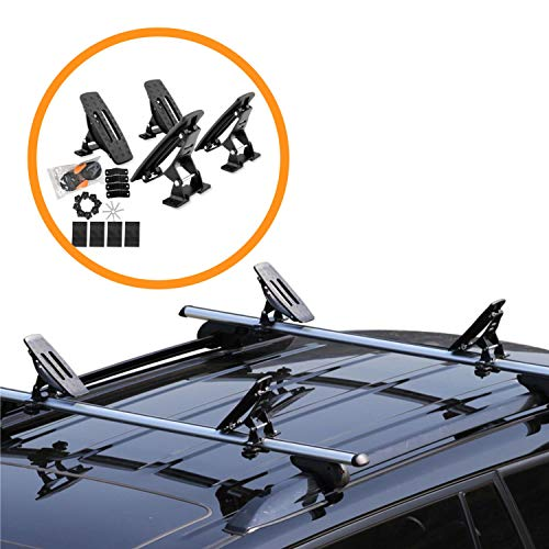 Onefeng Sports 135LB Adjustable Saddle Rack, Aluminum Rustless Kayak Roof Rack with 1.5' Width Ratchet Lashing Straps for Carrier Canoe Boat Paddle Board Surfboard, to Mount on Car SUV Truck Crossbar