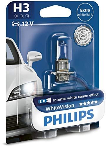Philips 12336WHVB1 White Vision Lampada Alogena H3, 12V 55W, 60% di Luce in Più sulla Strada, 4300K