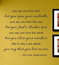 You Say You Love Rain but You Open Your Umbrella William Shakespeare Vinyl Wall Decals Quotes Sayings Words Art Decor Lettering Vinyl Wall Art Inspirational Uplifting
