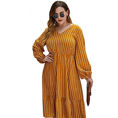R.PRINCE Plus Size V Neck Midi Dress for Women with Long Lantern Sleeve (Yellow, XXL)