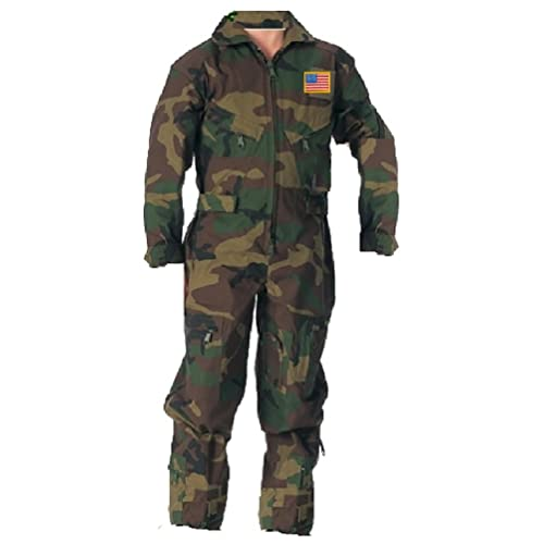 Kids Military Pilot Woodlands Camo Coverall Flight Suit 6699e56687b