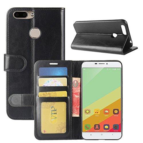 HualuBro Oukitel U20 Plus Hülle, Retro PU Leder Leather Wallet HandyHülle Tasche Schutzhülle Flip Hülle Cover für Oukitel U20 Plus Smartphone - Schwarz