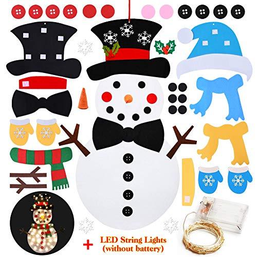 Juego de muñeco de nieve de fieltro con 37 piezas extraíbles con 50 luces LED, colgante de pared de 2,78 m,...