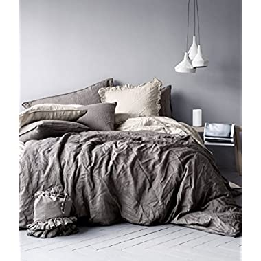 Stonewashed Flax Linen Duvet Quilt Cover 100-percent Pure Genuine Linen in French Country Vintage Washed Solid Light Blue 3 Piece Bedding Set (Queen, Charcoal Grey)