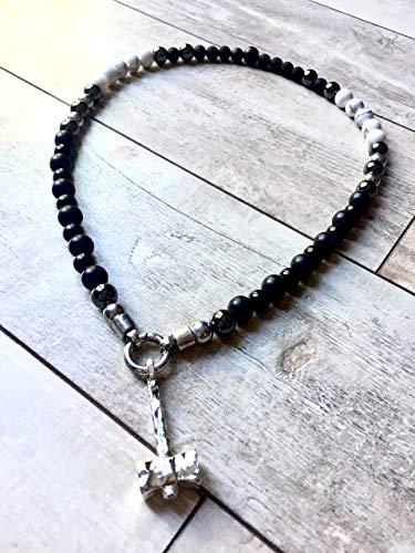 Wikinger- Kette | Perlenkette mit Thors Hammer | Rocker-Schmuck | Biker-Schmuck | Wikinger-Schmuck