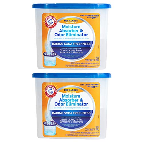 Arm & Hammer AH Refillable Tub 2-14 OZ Amazon Moisture Absorber, 2 Count, White,Blue, 28 Oz
