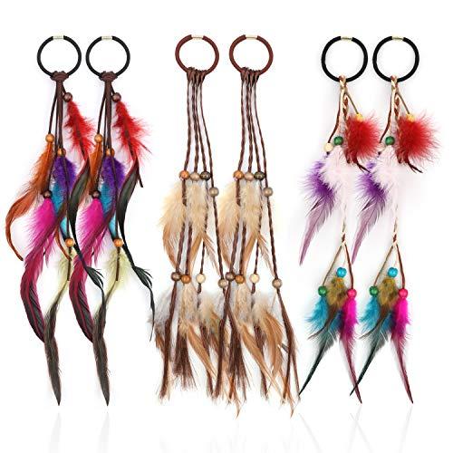 MWOOT Feder Haargummis Haarschmuck (6Stk), Böhmischen & Indianisch Kopfschmuck Haarbänder Set, Frauen Feder Haarverlängerungen, Verkleidung Haarzubehör für Cosplay Allerheiligenfest Thema Party
