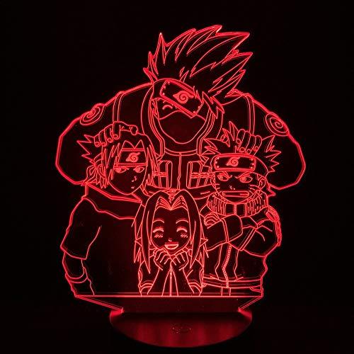 Naruto 3D Lampe Licht Kinder Schlafzimmer Nachtlicht Kakashi Naruto Sasuke Sakura Led Nachtlicht Geschenk Kinder