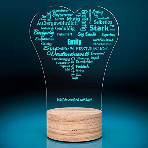 Personalisierte LED-Leuchte Herz-Liebesbotschaft mit Gravur | Romantisches Deko-Licht personalisiert mit 7 Farben | Leuchtsockel mit Wunsch-Namen | Geschenk-Idee zum Hochzeitstag | Deko Wohnzimmer