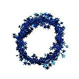Oblique Unique® Folien Girlande Stern Lametta Glitzer Draht 7,5m Hängedeko Tischdeko Geburtstag Jubiläum JGA Hochzeit Weihnachten Silvester Party Karneval Fasching Deko - wählbar (Blau) - 2