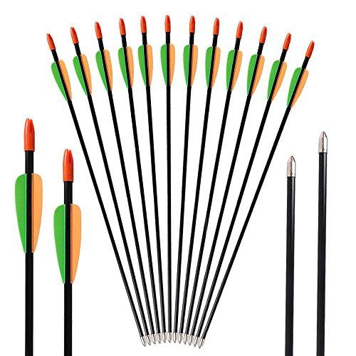 Toparchery Bogen Pfeile 12er Fiberglaspfeile Übungspfeile Pfeile Bogenschießen Kinder 28 Zoll Pfeile für Bogenschießen 7 mm