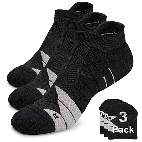 Compression Athletic No Show Running Socks with CoolMax Cushion for Men & Women … (3 Pairs-Black Grey, Medium)