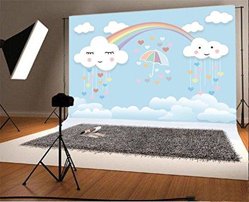 YongFoto 2,2x1,5m Vinilo Fondos Fotograficos Kawaii Nube y Arco Iris Cielo Azul Fondos para Fotografia Fiesta Niños Boby Boda Adulto Retrato Personal Estudio Fotográfico Accesorios