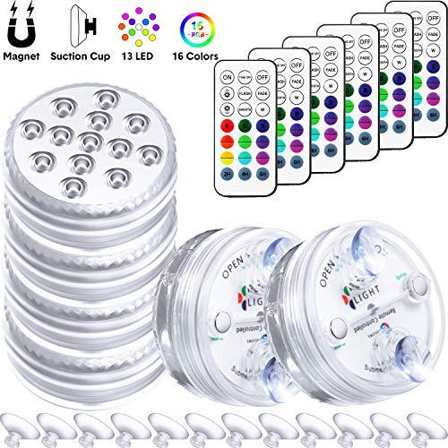 Luces LED Sumergibles y Control Remoto con Imán y Ventosa 13 Luces LED de Piscina Luz Decorativa Subacuática a Prueba de Agua con Pilas para Acuario Piscina Estanque (6 Juegos)
