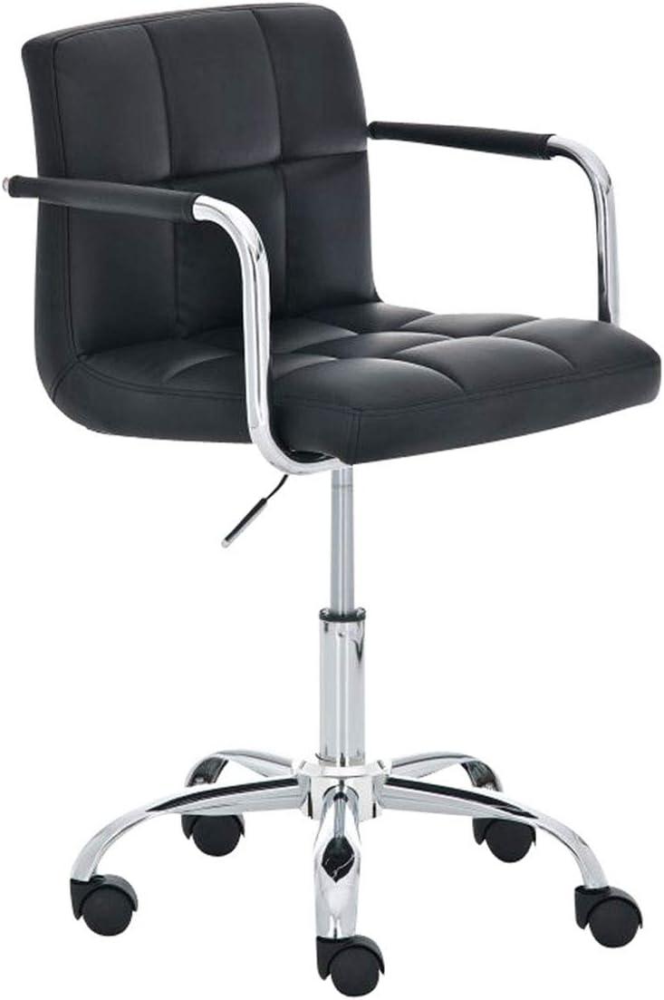 CLP B/ürostuhl Lucy mit gestepptem Kunstlederbezug I Drehstuhl mit Leichtlaufrollen I Schreibtischstuhl mit Armlehne Farbe:schwarz