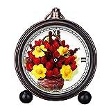girlsight Art Retro Salón decorativo sin tictac, fácil de leer, cuarzo, mesita de noche analógica, reloj despertador, esfera de reloj floral B4153. Arreglos comestibles